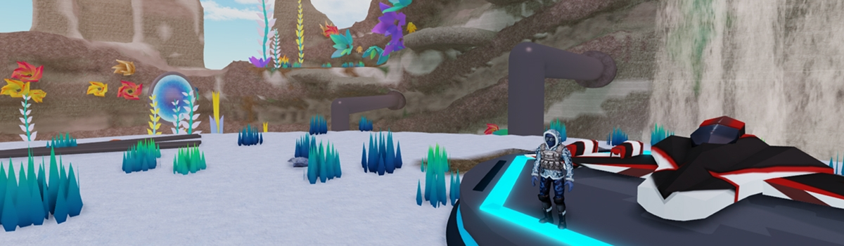 Player in arctic clothing next to spaceship during snow